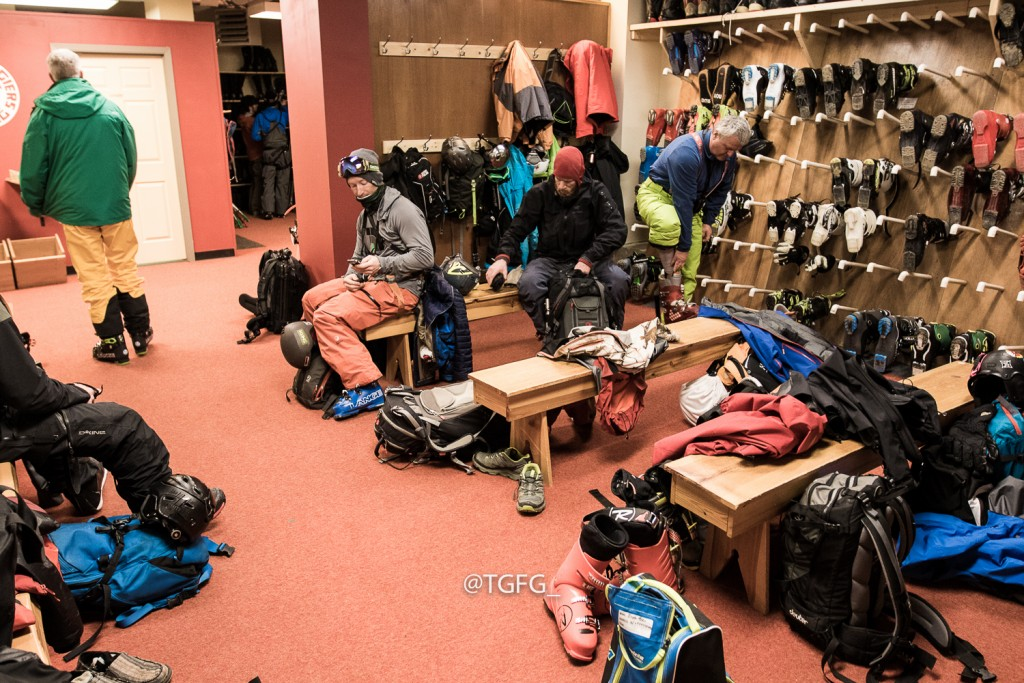 Griffin Post and Nic Teichrob get ready in the boot room before we fly.