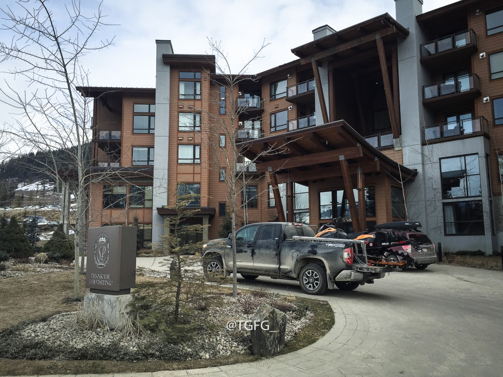 Leaving the Sutton Place at RMR in the morning to drive to Selkirk Tangiers heli base.