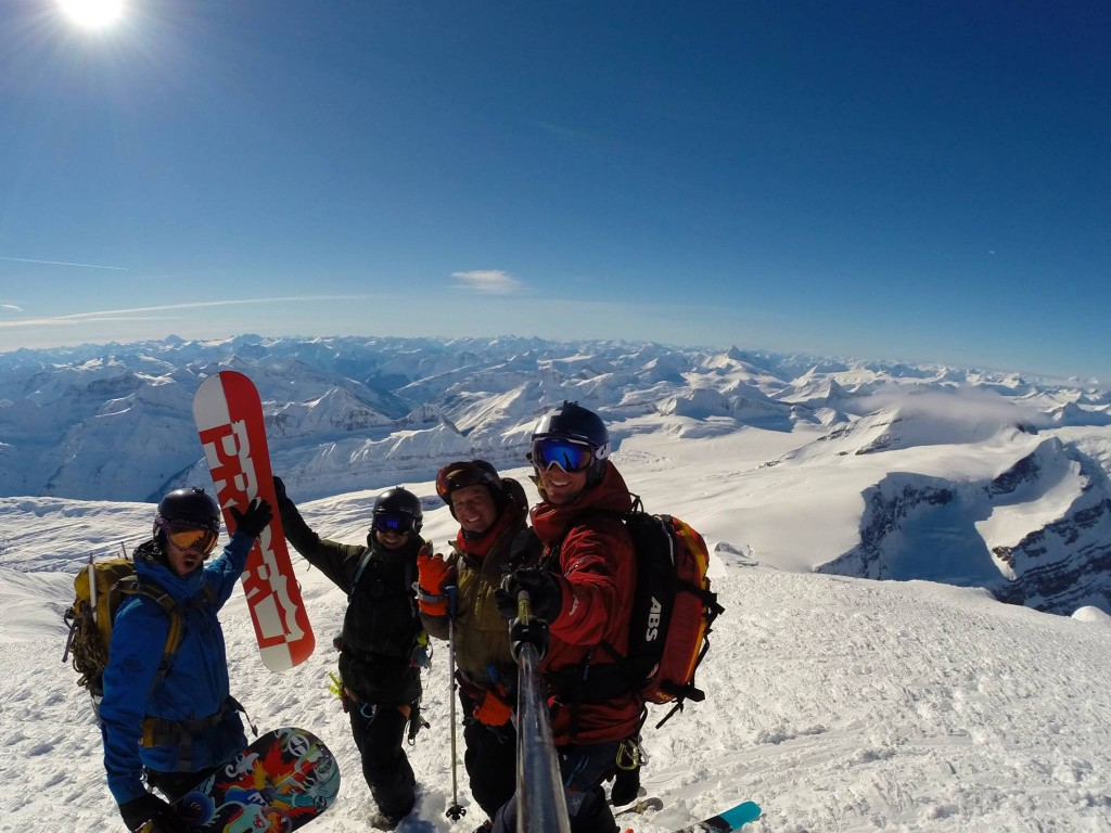 Summit of Mt. Columbia (3,747 m) and our crew is just about ready to shred. My hands are nice and toasty.
