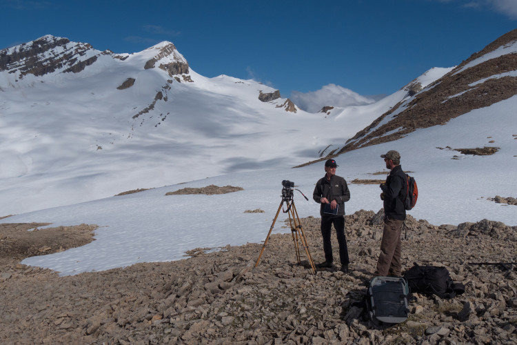 June 5, 2015, Darren Enderwick & Roger Vernon at site of the future Louise & Richard Guy Hut, Yoho National Park. Photo by Will Schmidt