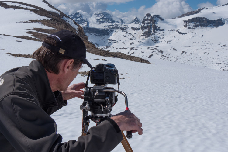 Filmmaker Roger Vernon at the site of the future Louise & Richard Guy Hut, Yoho National Park. Photo by Will Schmidt