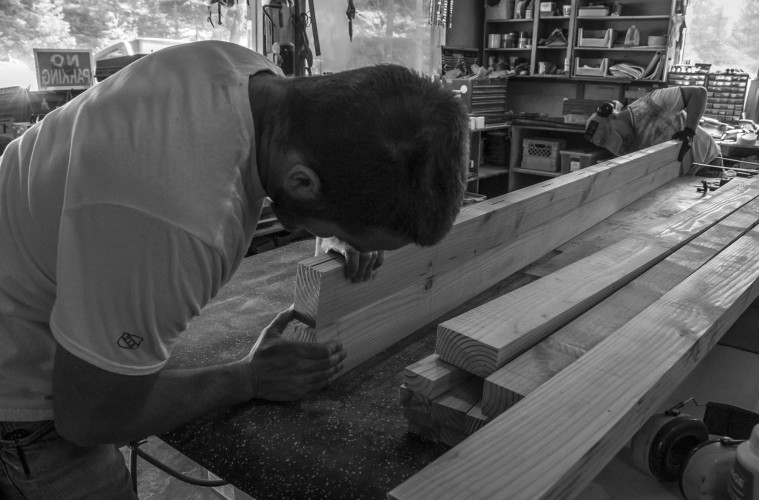 ACC staff Ryan Linskill and Steve Doucette building benches. Photo by Rebecca Ferri