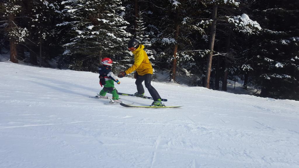 Teaching my son to ski at Lake Louise