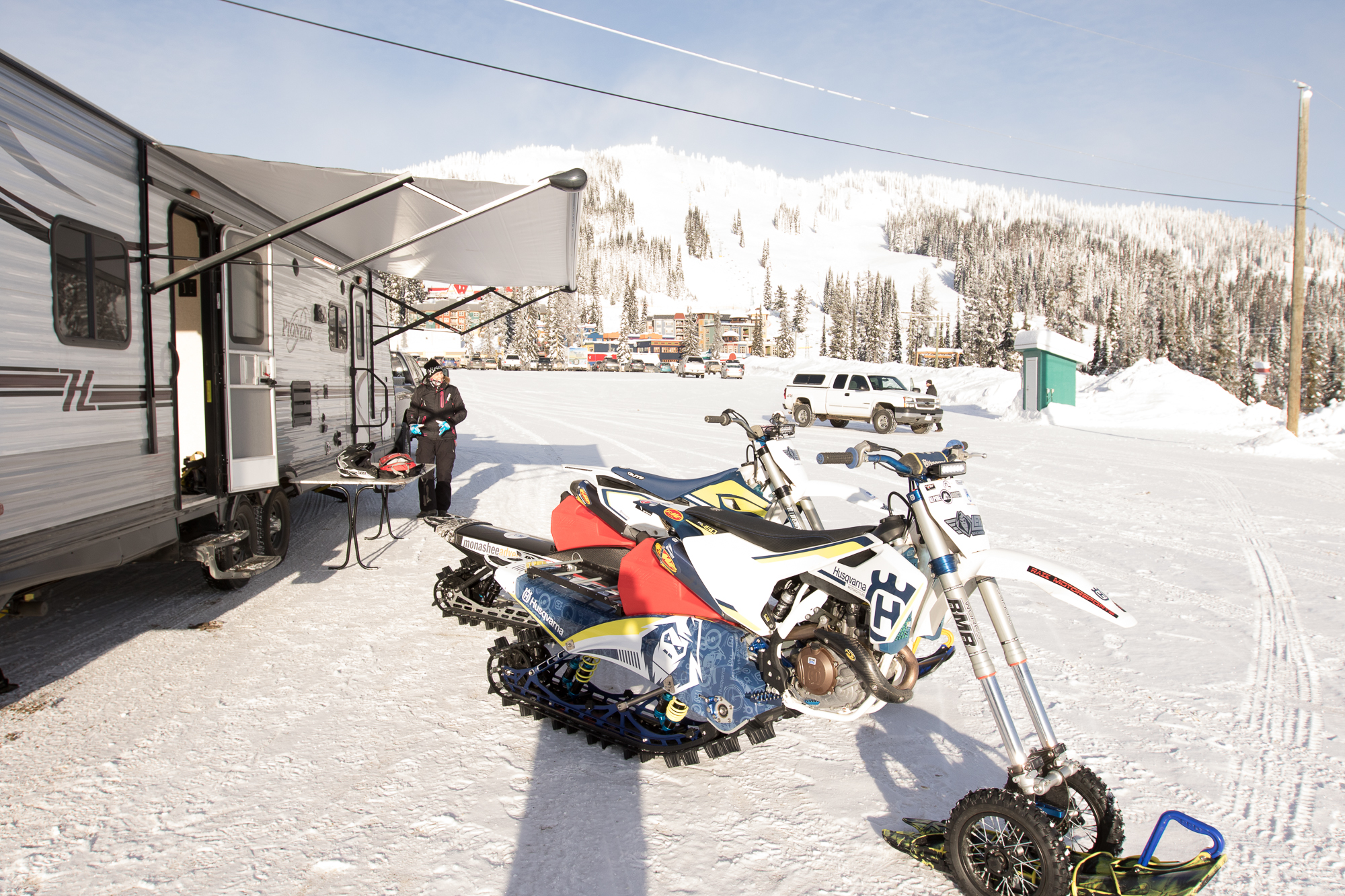 SnowMX tours by MAG are based in a trailer at bottom of ski hill