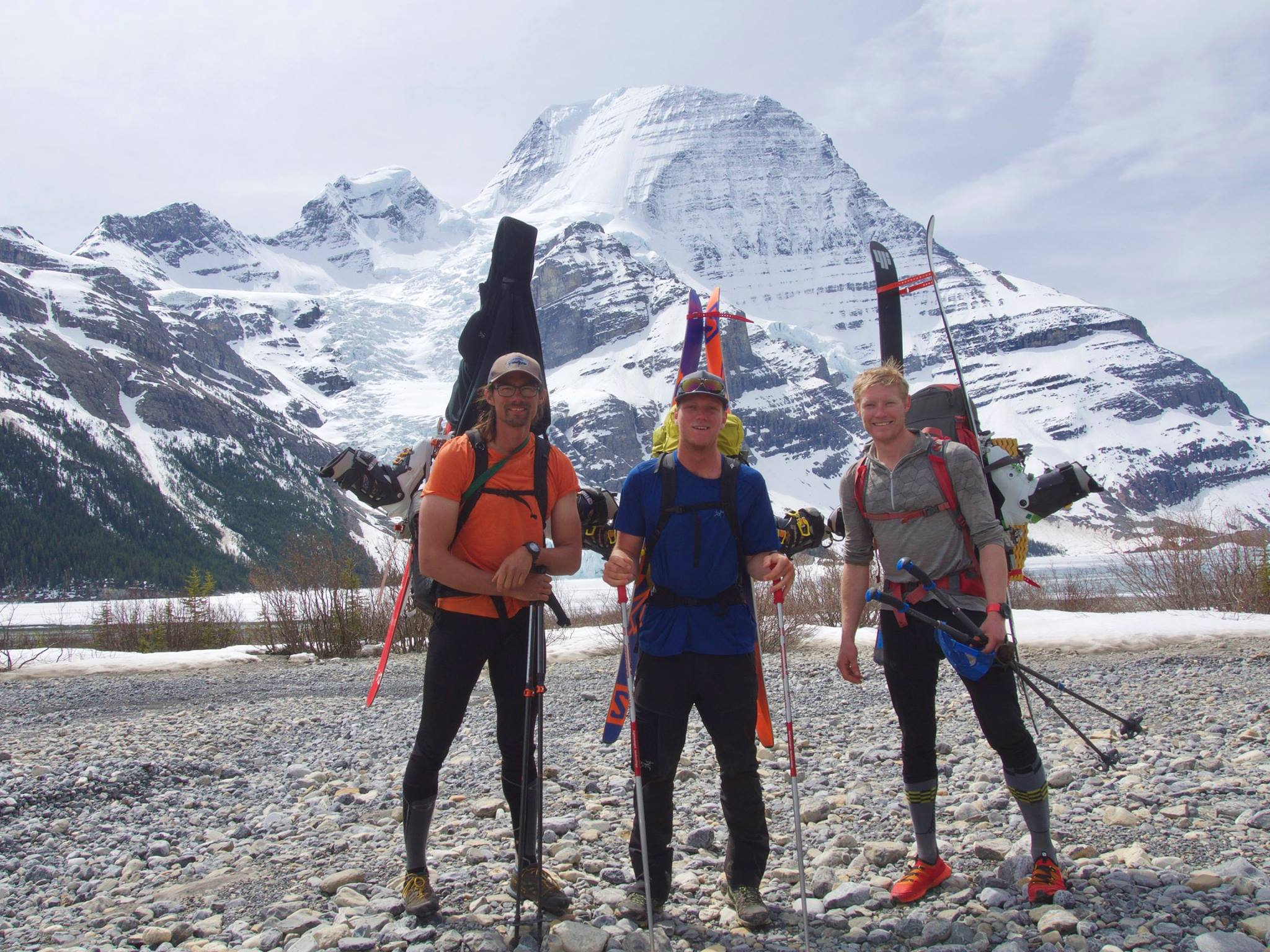 Dylan Chen, Kevin Rohn and Dylan Cunningham (left to right) on the way out of their mission to Mt. Robson.