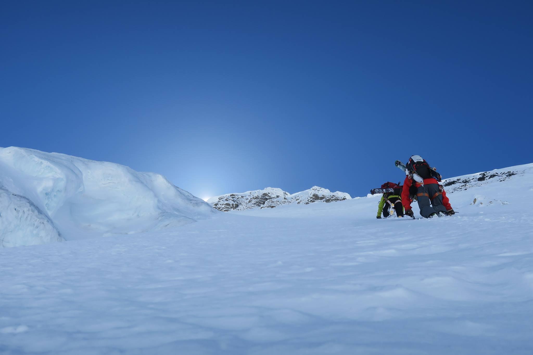Climbing the line. McNab photo