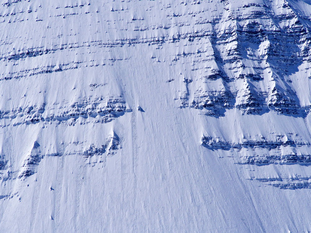 Tracks on the lower half of the ski descent. Photo by Dylan Chen.