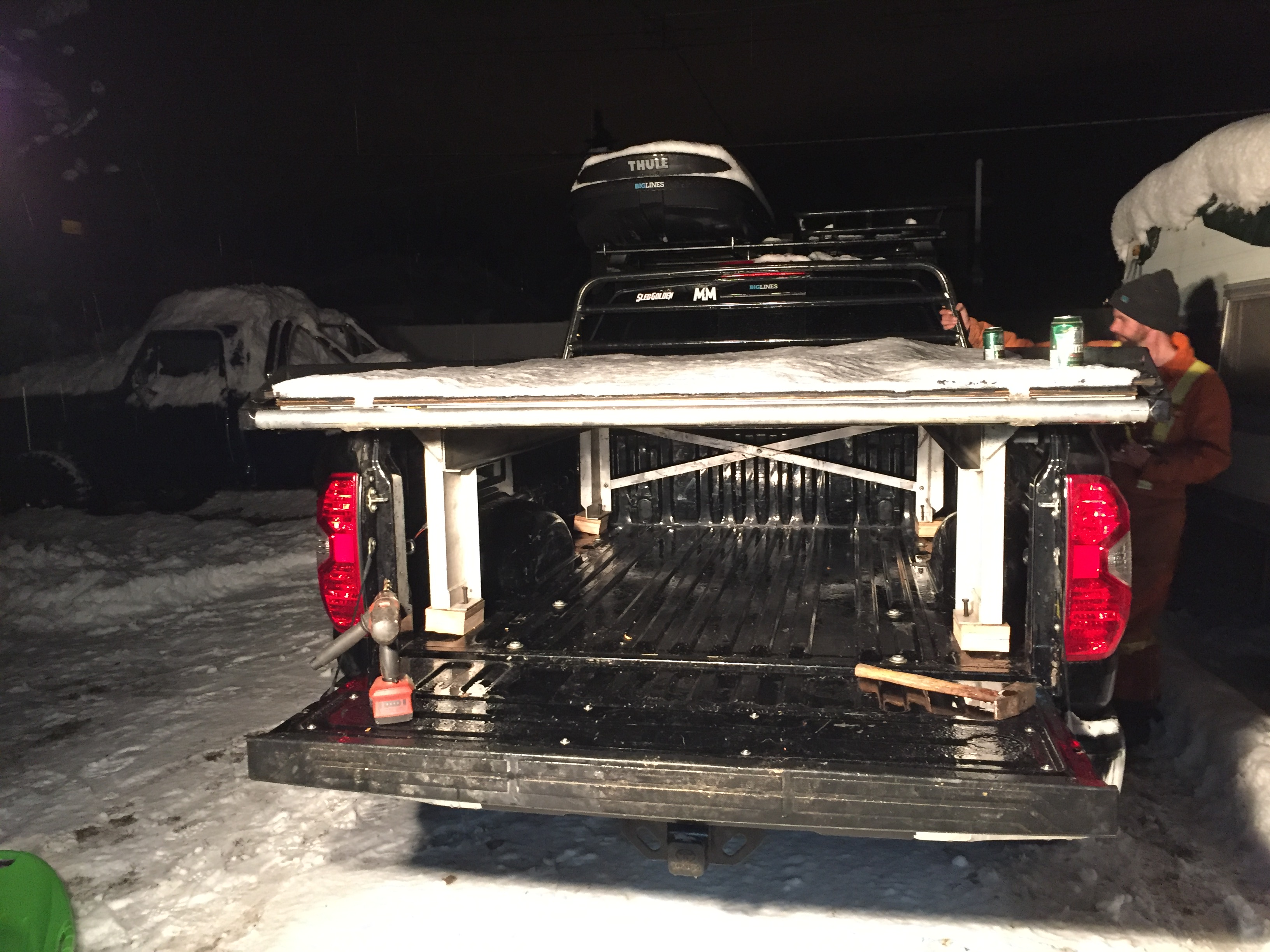 Sled deck installation night