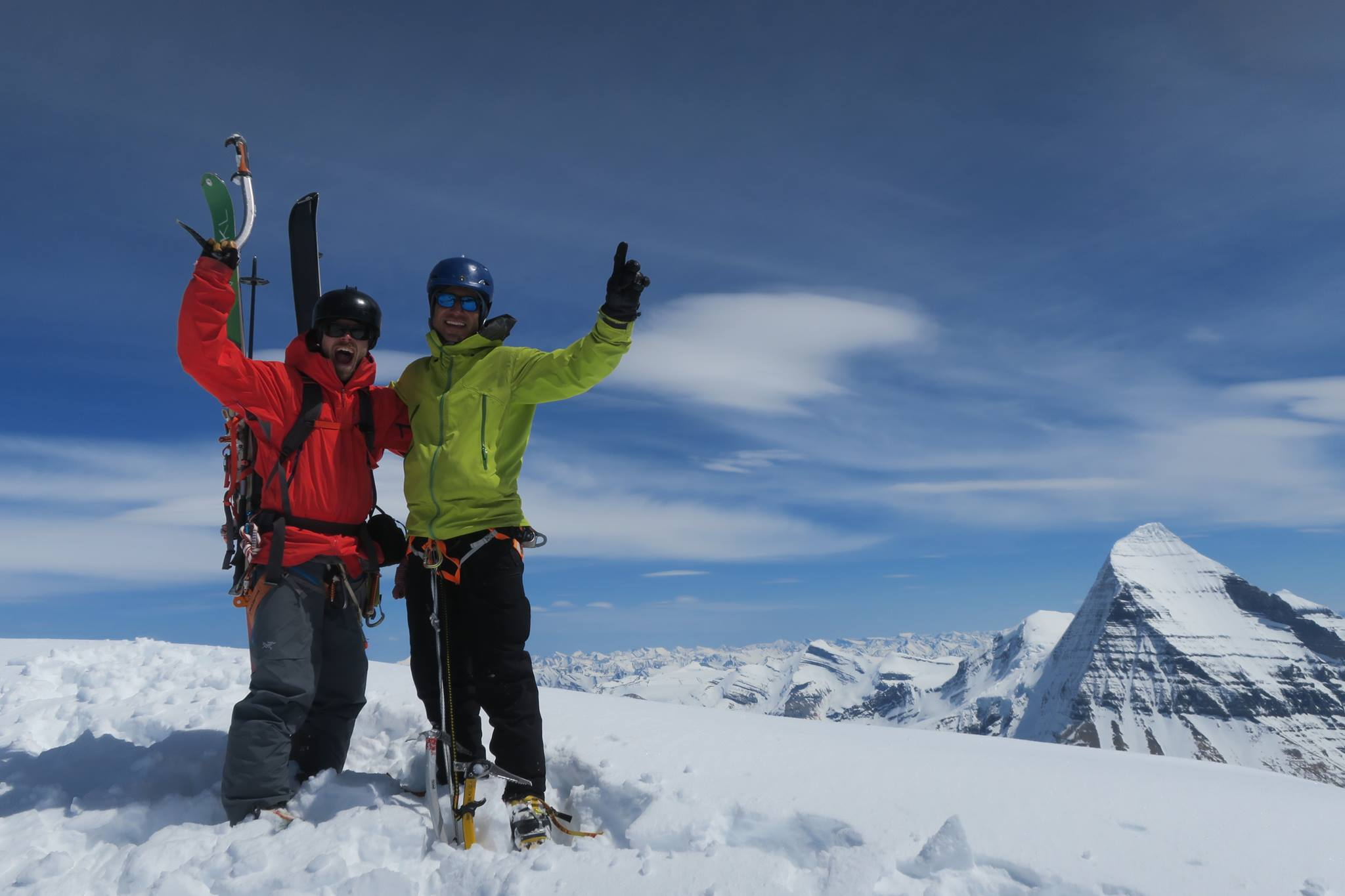 Matt Cote and Ali Haeri (left to right) on the summit of Whitehorn Mountain. McNab photo