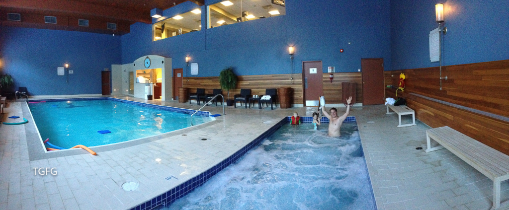 Post ski soak in the pool area.