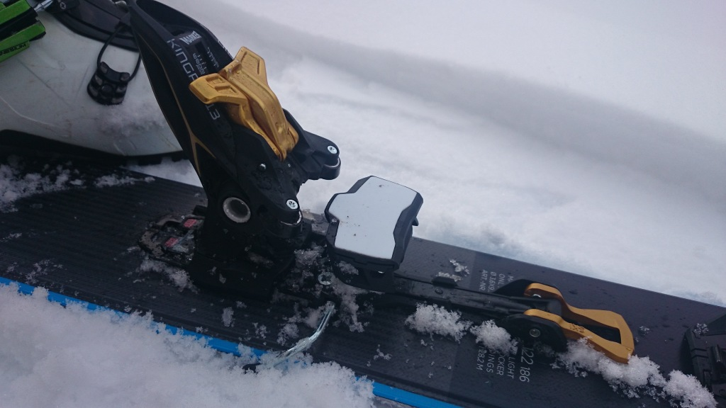 "heel piece and brake in ""Ski"" mode"