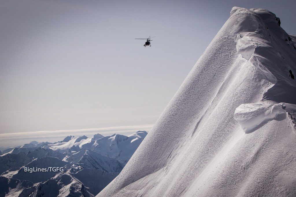 The heli takes the boys to the top.