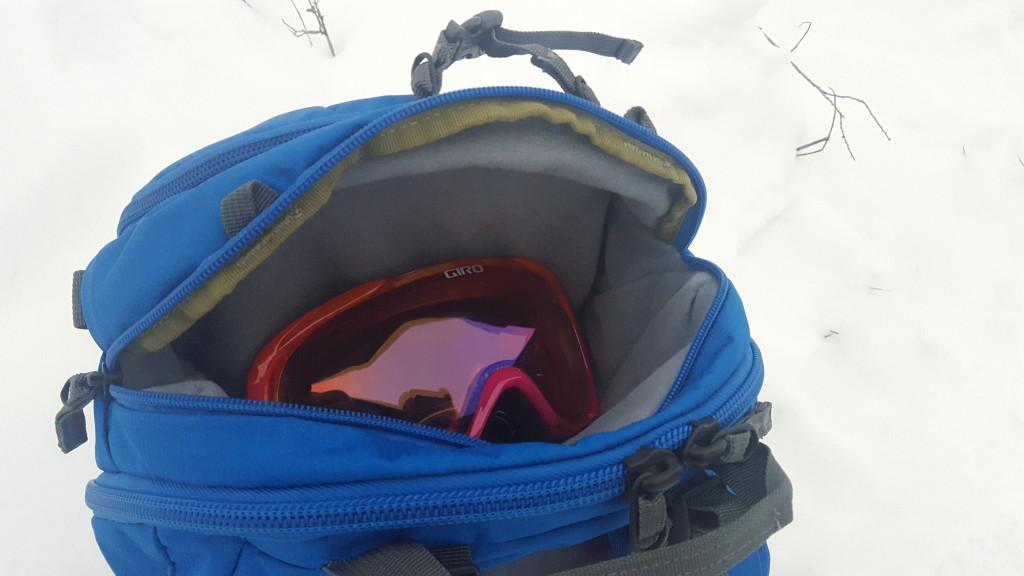 Fleece lined goggle pocket in BCA Stash packs
