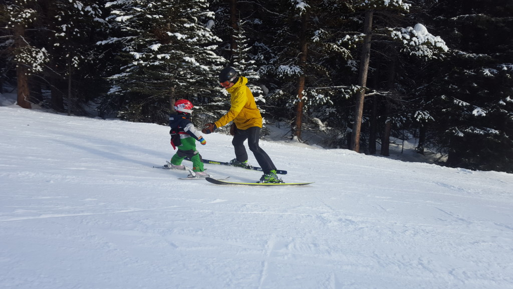 Teaching my son to ski at Lake Louise