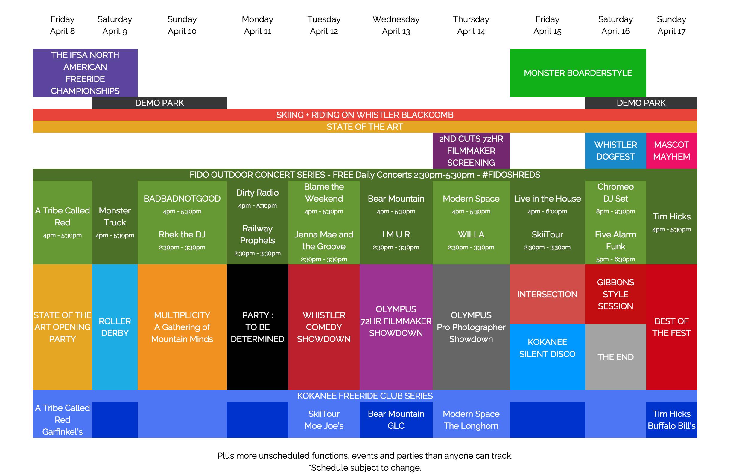 WSSF Schedule