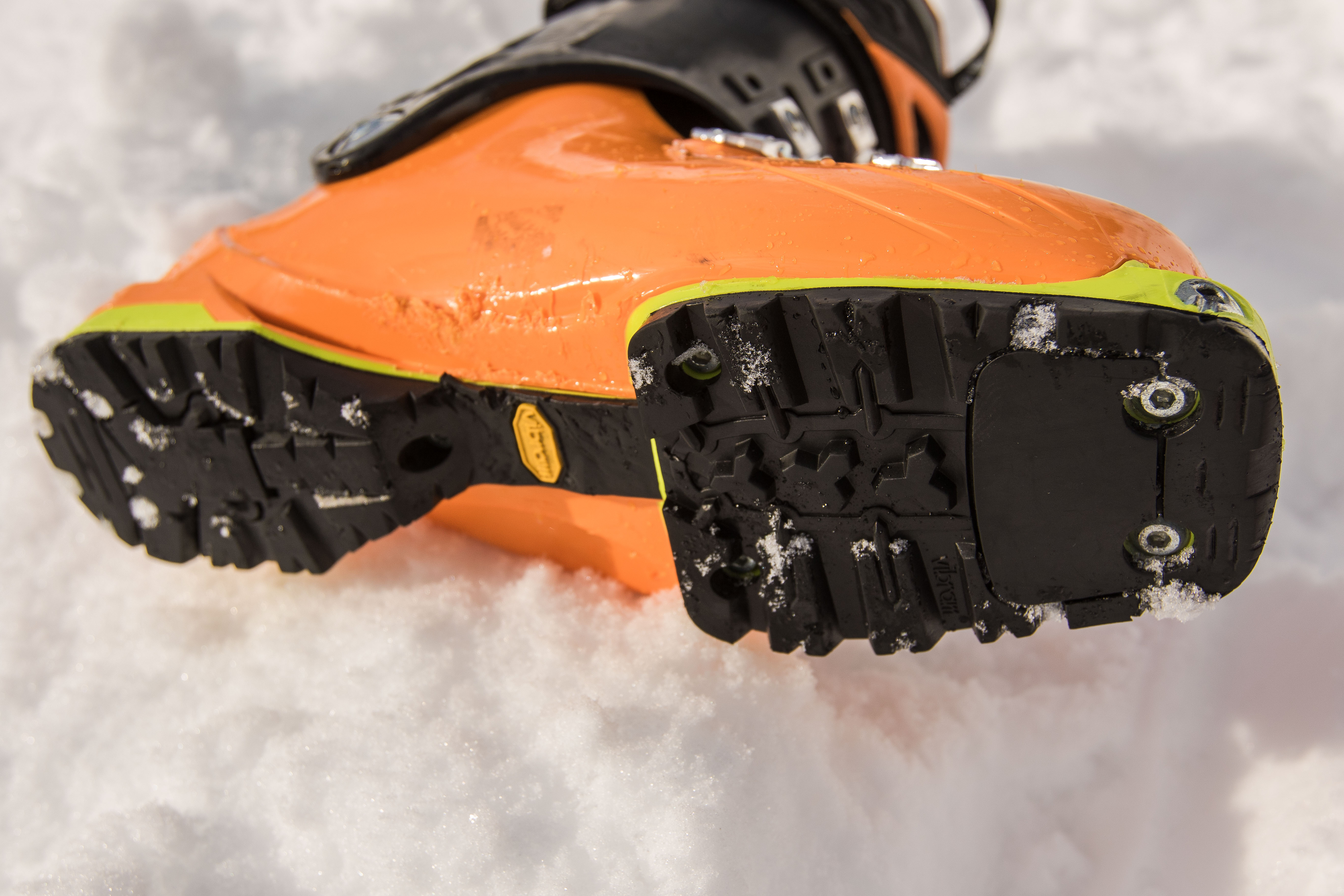 Vibram sole is a major plus. Scuffs after 5 days of sled skiing (not too bad).